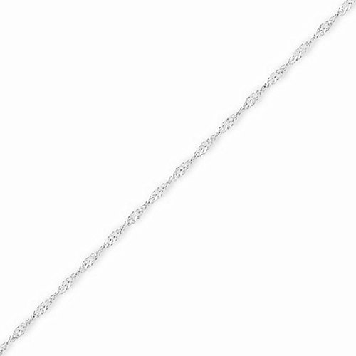 White Gold Diamond Snake Pendant - 14k Gold Solid Diamond-cut Singapore Chain Necklace with Spring Ring (1.5mm) - White-Gold, 18 in
