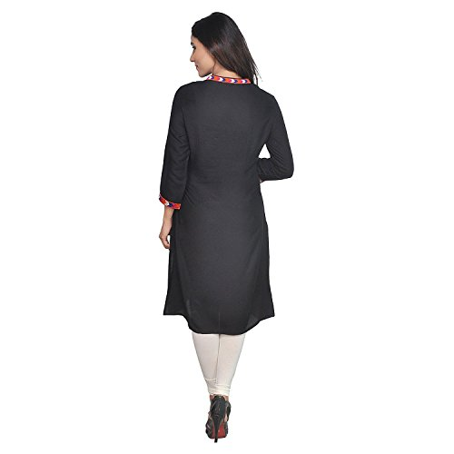 Chichi Indian Women Kurta Kurti 3/4 Sleeve Medium Size Plain with Jaipuri Embroidered Straight Black Top by CHI (Image #4)