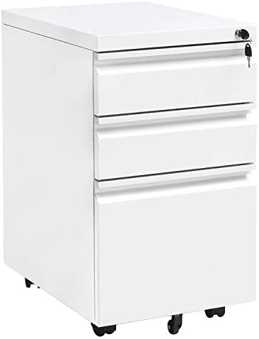 Locking File Cabinet Rolling Metal Filing Cabinet 3 Drawer Fully Assembled Office Pedestal Files Except Wheel White A