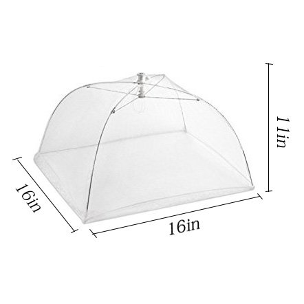 Tailbox Set of 6 Large Pop-Up Mesh Screen Food Cover Tent Umbrella - 16 Inch White Reusable and Collapsible Outdoor Picnic Food Covers Net for Outdoor Picnic & BBQ Keep Out Flies, Bugs & Mosquitoes