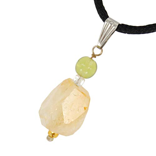 (Steampunkers USA Miner's Horde - 30mm Faceted Chunk Nugget Citrine Golden Yellow - Natural Crystal Gemstone Carved Necklace Pendant )