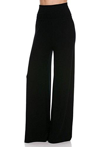 2LUV Plus Women's High Waisted Plus Palazzo Pants Black 1XL (B1098M)
