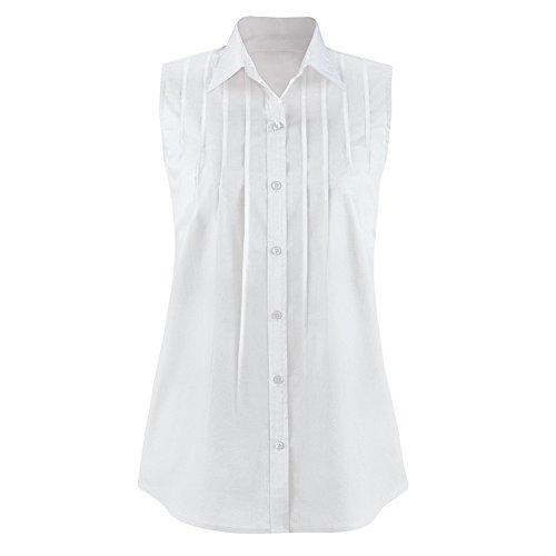 Collections Etc Women's Pintuck Button Down Sleeveless Shirt, White, X-Large (Pintuck Button Front Shirt)