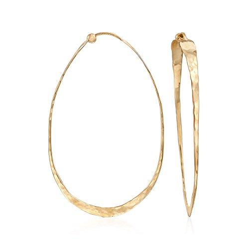 (Ross-Simons 14kt Yellow Gold Elongated Hammered Hoop Earrings)
