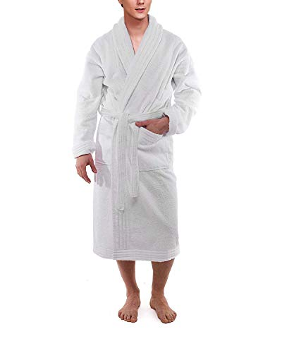 (All-Cotton Bathrobe Thick Plush Cloth Housecoat Terry Toweling, Sweat Steaming Clothes Comfortable & Warm (White))