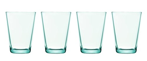 ittala Kartio Set of Four Glass Tumblers, Water Green, 13.5-Ounce Capacity