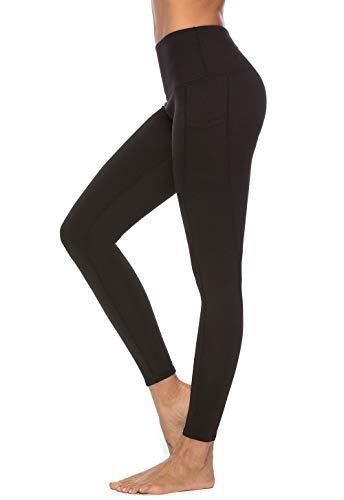 Mint Lilac Women's High Waist Tummy Control Yoga Pants Full-Length Workout Leggings Medium Black