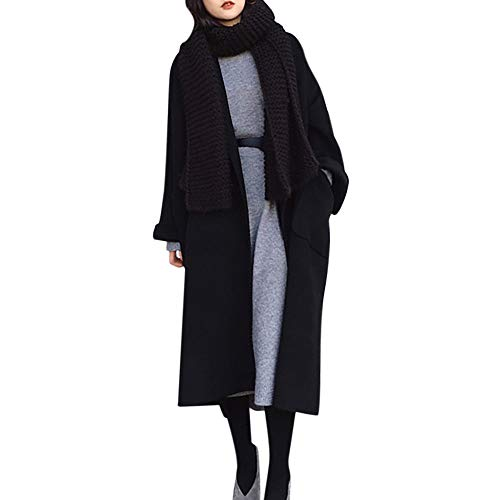 Winter Specials! Women Double-Sided Cashmere Coat Warm Faux Wool Slim Jacket Long Overcoat Outwear Outercoat (Black(Clearance), US:8=Tag Size:L)