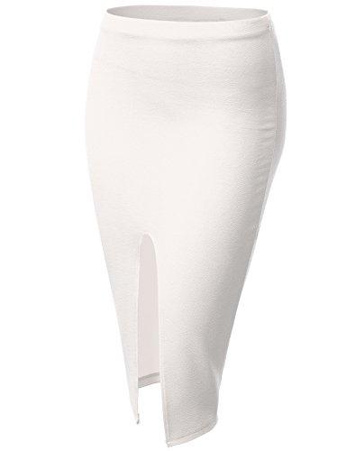 Pleated Sequin Skirt White (J.TOMSON Womens Basic Semi Formal Front Slit Fitted Pencil Midi Skirt Ivory L)