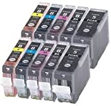 Premier Cartridges  PGI-5 / CLI-8 - 10 Item Multipack Compatible Ink Cartridges for Canon Pixma iP4200 iP4300 iP4500 iP5100 iP5200 iP5200R iP5300 MP500 MP530 MP600 MP600R MP610 MP800 MP800R MP810 MP830 MP950 MP960 MP970 9000 MX850 - CLI8/PGI5 (Contains: any combination of CLI-8C, CLI-8Y, CLI-8M, CLI8BK, PGI-5BK) - Latest Chip Installed, Ready For Use, No Fuss!
