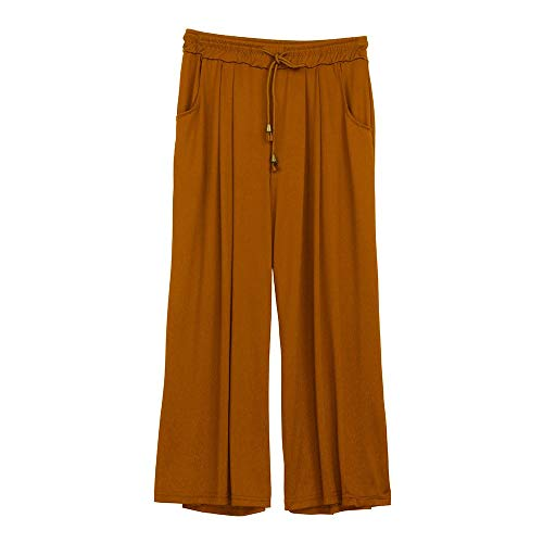 TOTOD Women Summer Loose Cropped Harem Pants Casual Wide Leg Elastic Band Drawstring Trousers with Pockets Coffee