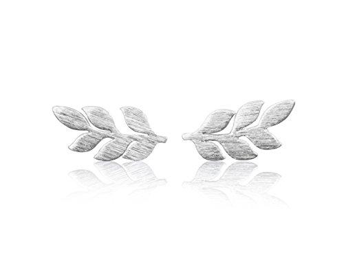 Wood Palm Earrings (ONDAISY 20G Rhodium Plated Kawaii Cute Unique Lucky Bohemian Sensitive Flower Angel Laurel Leaf Ear Studs Piercing Earrings)