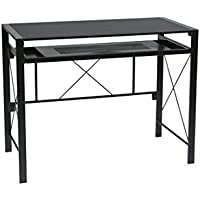 Office Star Creston Desk with Pull-Out Keyboard Tray and Storage Compartments, Black