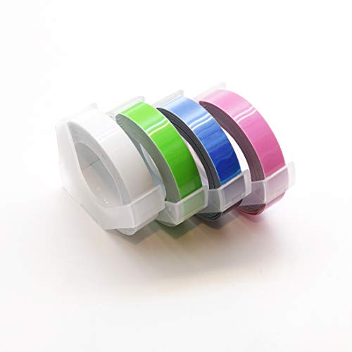 MoTEX Refill Tape for Embossing Label Maker, Pastel Color Tapes 4 Rolls, 3/8-Inch (Clear, Green, Violet, Pink)