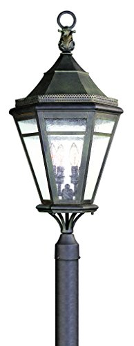 Troy Lighting Morgan Hill 4-Light Outdoor Post Lantern - Natural Rust Finish with Clear Seeded Glass (Morgan Hanging Lantern)