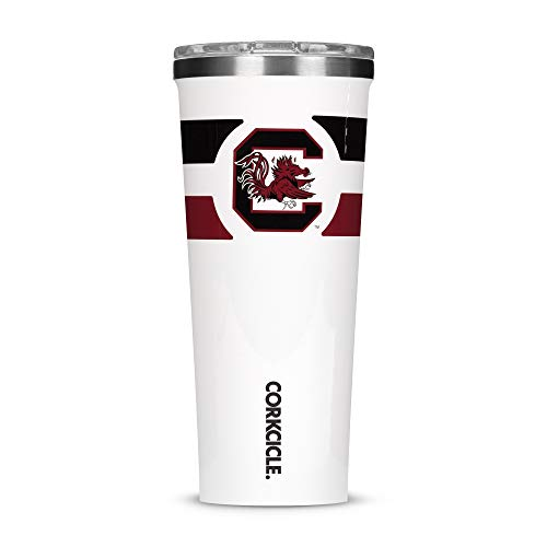 Corkcicle Tumbler - 24oz NCAA Triple Insulated Stainless Steel Travel Mug, University of South Carolina Gamecocks, Gym Stripe