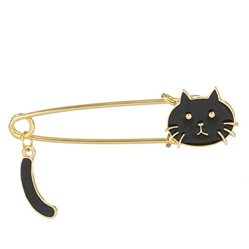 Samzary Women's Fashion Cute Little Cat Brooch Pin Animal Breastpin Corsage for Decoration