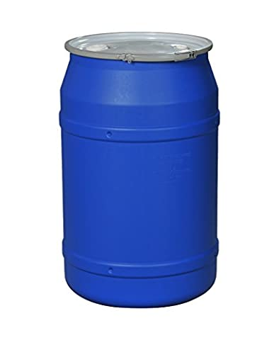 Eagle 1656MBBG Straight-Sided Drum with Metal Band and Plastic Lid with Bungs, 55 gal, Blue - 55 Gallon Drum Spill Containment