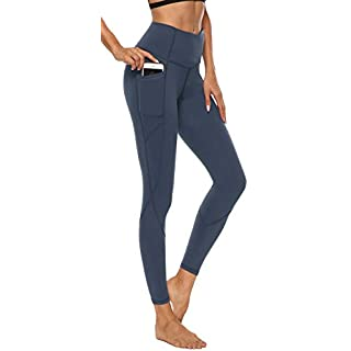 AFITNE Yoga Pants for Women High Waisted Tummy Control Athletic Leggings with Pockets Workout Gym Yoga Pants Blue - M