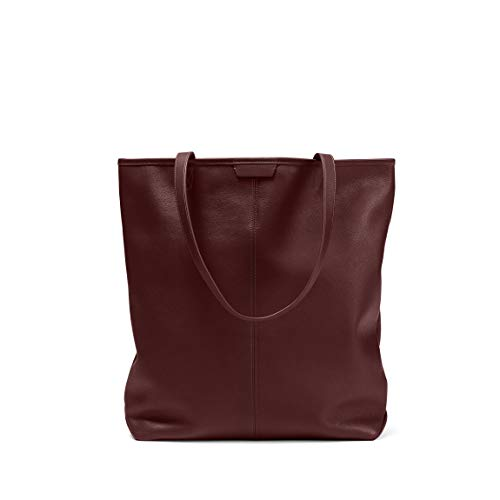 - Uptown Vertical Tote - Full Grain Leather Leather - Bordeaux (Red)