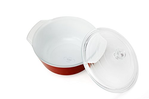 Creo SmartGlass Cookware, 2-quart Casserole Dish with Lid Cover, Red