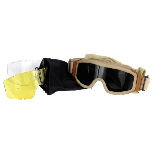 Lancer Tactical CA-203T Safety Airsoft Goggles w/ Interchangeable Multi Lens Kit (Desert Tan), Includes Smoked, Clear, & Yellow Lens
