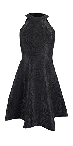 Calvin Klein Women's Halter Neck Fit and Flare Multi Color Brocade Dress, Black, 8 ()