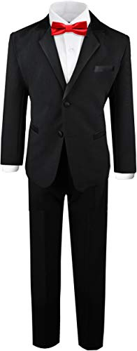 (Black n Bianco Boy's Tuxedos Dresswear Set (X-Large / 18-24 Months, Black with Red Bow Tie))