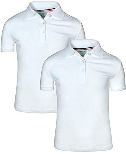 French Toast Girl's 2 Pack Uniform Short Sleeve Polo Shirts 10/12 White