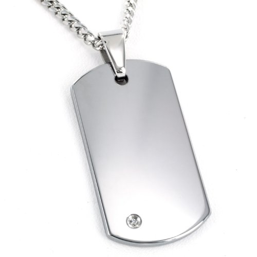 West Coast Jewelry | Crucible Tungsten Carbide Diamond Dog Tag Pendant Curb Chain Necklace - 24