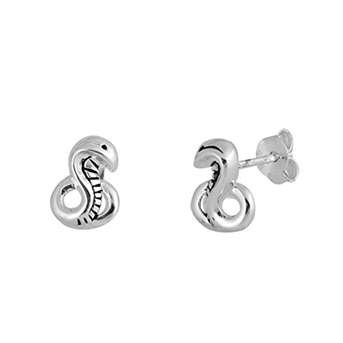 (Oxidized Cobra Coiled Snake High Polish .925 Sterling Silver Animal Stud Earrings)