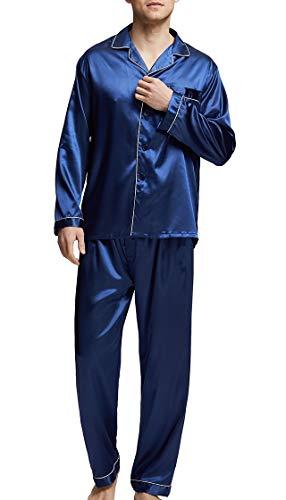 (Men's Satin Pajamas Long Button-Down Pj Set Sleepwear Loungewear (Navy Blue/White, L))
