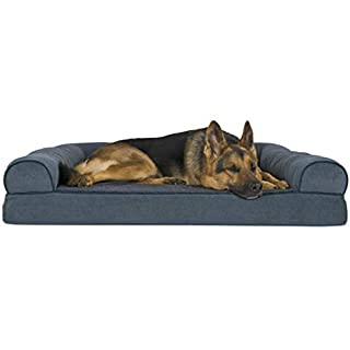 Furhaven Pet Dog Bed - Orthopedic Faux Fleece and Chenille Soft Woven Traditional Sofa-Style Living Room Couch Pet Bed with Removable Cover for Dogs and Cats, Orion Blue, Jumbo