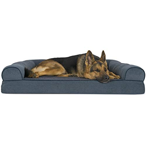 Furhaven Pet Dog Bed   Orthopedic Faux Fleece & Chenille Soft Woven Traditional Sofa-Style Living Room Couch Pet Bed w/ Removable Cover for Dogs & Cats, Orion Blue, Jumbo