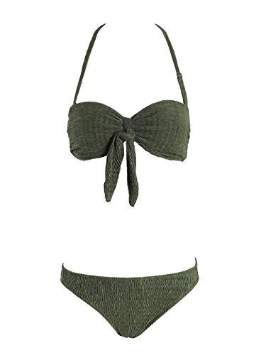 SeaBeauty Womens Bandeau Halter Bikini Set Underwire Padded Swimwear Sexy 2 Piece Bikini Bathing Suits Olive