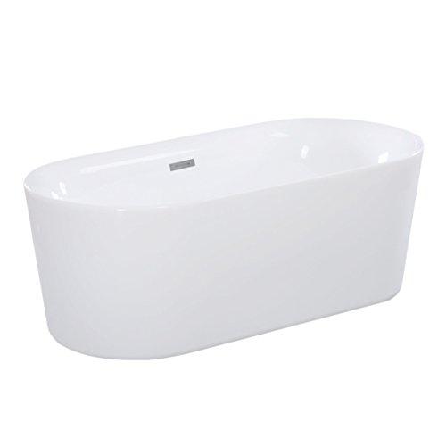 Best maykke dewey 59 oval acrylic bathtub modern for Best acrylic tub