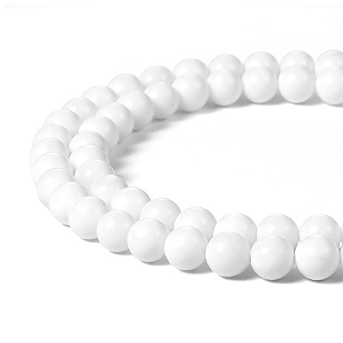 8mm Natural White Tridacna Shell Beads Round Gemstone Loose Beads for Jewelry Making (47-50pcs/strand)