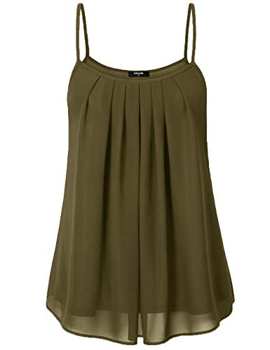 Lotusmile Women's Summer Cool Casual Sleeveless Pleated Chiffon Layered Cami Tank Top (Large, Army ()