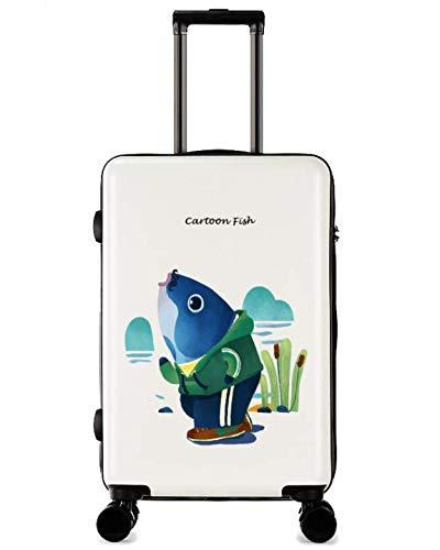 ユニバーサルホイールトロリーケースラゲッジスモールフレッシュ24インチスーツケース (Color : ホワイト)   B07MCSTPV6
