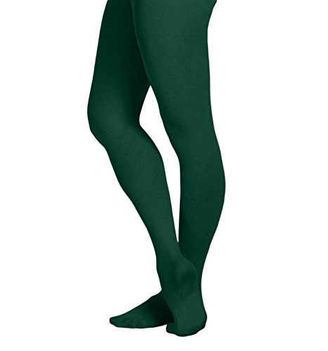 EMEM Apparel Women's Ladies Solid Colored Opaque Dance Ballet Costume Microfiber Footed Tights Stockings Fashion Hunter Green A -