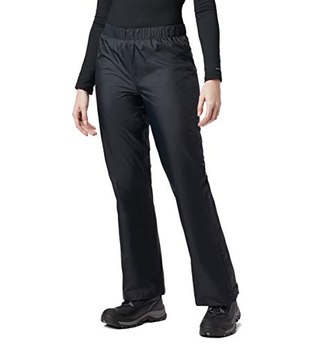 Columbia Women's Storm Surge Waterproof Rain Pant, Black, Large x Short