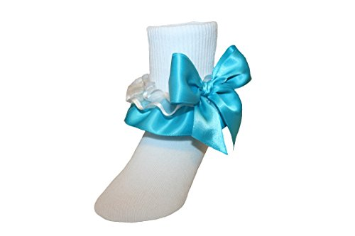 Girls Ruffle Ankle Socks with Satin Organza & Bows in Assorted Colors (8-9.5 Girls, Turquoise) (Ruffle Socks Organza)