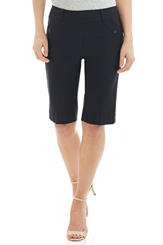 Pocket Bermuda Shorts (REKUCCI Women's Ease In To Comfort Fit Modern Pull On Bermuda Short With Pockets (16,Black))