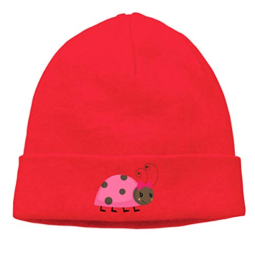 Hip-Hop Knitted Hat for Mens Womens Cute Ladybug Unisex Cuffed Plain Skull Knit Hat Cap Head Cap]()