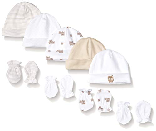 GERBER Baby 9-Piece Cap and Mitten Bundle, Brown Bear, Newborn