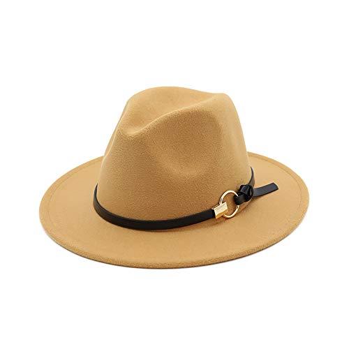 Unisex Timelessly Classic Manhattan Fedora Hat Gold Belt Buckle Wool Felt Panama Hat (Gold Wool Classic Hat)