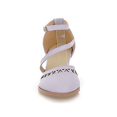 Amoonyfashion Para Mujer Suave Material Hebilla Punta Estrecha Gatito-talones Sandalias Sólidas Púrpura