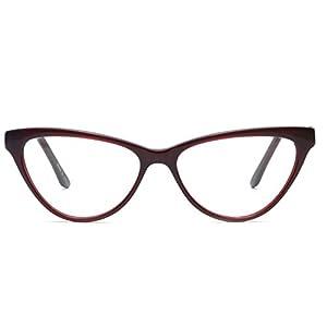 Eyeglasses With Clear Lenses OCCI CHIARI Fashion ALOE Acetate Frame (Red, 52)