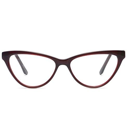 OCCI CHIARI Fashion Cateye Acetate Eyeglasses Frame with Clear Lenses for Womens (Burgundy,52-16-140)