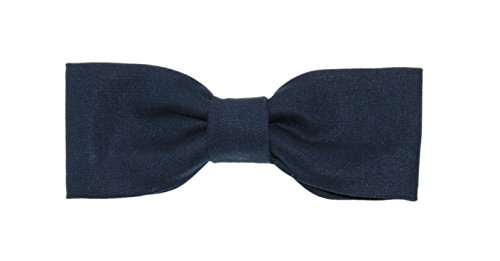 Boys Skinny Slim Navy Blue Clip On Cotton Bow Tie - Made In the USA by amy2004marie (Image #1)